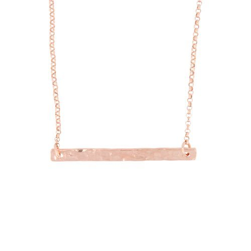 Hammered Bar Necklace in Rose Gold Fill on Rose Gold Filled Rolo Chain - As Seen on TV show Modern Family, #6809-rg