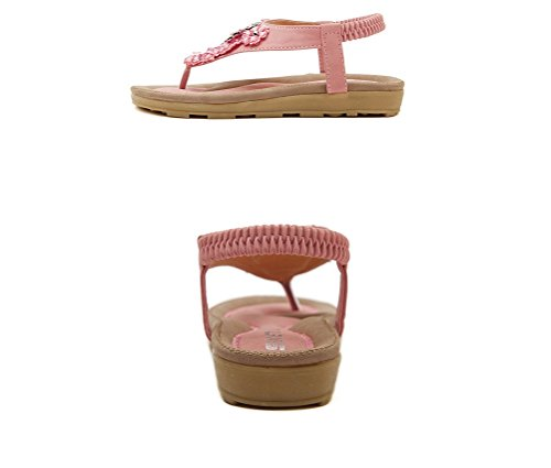 Tinta unita Summer LIANGXIE New La Elastico Rosa Perline piatti Sandali Elastici signora Sandali Strass ZHHZZ qqp0S8n