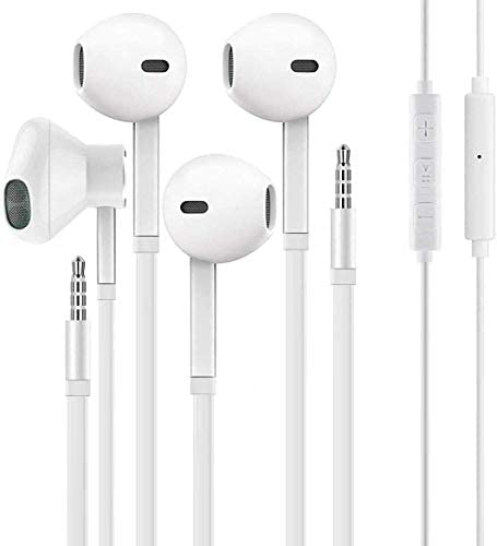 Aux Headphones/Earphones/Earbuds 3.5mm Wired Headphones Noise Isolating Earphones with Built-in Microphone & Volume Control Compatible with Phone 6 SE 5S 4 Pod Pad Samsung/Android MP3 (2 Pack)