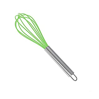 Kitchen Silicone Whisk, KUFUNG Balloon Mini Wire Whisk, Stainless Steel & Silicone Non-Stick Coating Hand Egg Mixer, for Blending Whisking Beating Stirring Cooking Baking (Green, 8 inch)