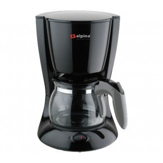 Alpina Black Coffee Maker 4-6 cup Capacity with Permanent with Handle and Keep Warm feature 220V Not for Use in USA.