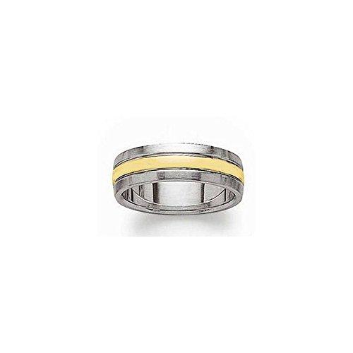 Bague Mixte homme femme trois anneaux acier et plaqué or - 54