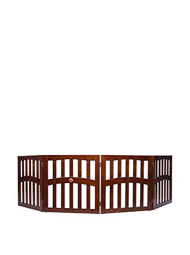 Three Panel Solid Wood - Elegant Home Fashions Molly Convertible Dog Gate with Ceramic Paw Accent, Walnut Finish, 24