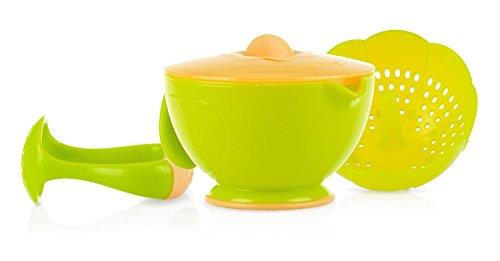 Nuby Garden Fresh Steam N Mash Baby Food Prep Bowl and Food Masher Green/Orange