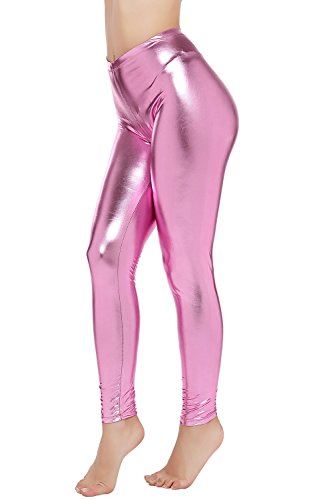 PINKPHOENIXFLY Womens Sexy Shiny Faux Leather Leggings Pants (L, Baby - Shiny Pink
