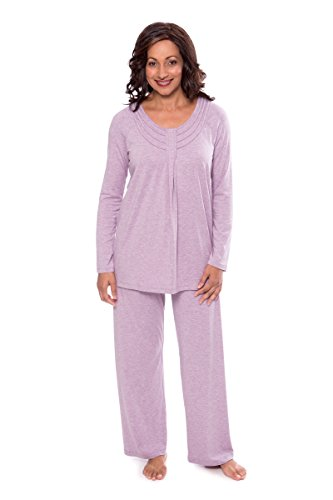 Women's Long Sleeve Pajama Set - Serenity (Heather Lilac, Large/Petite) Popular Christmas Gifts for Wife Sister Mother Daughter WB0006-2P1-LP