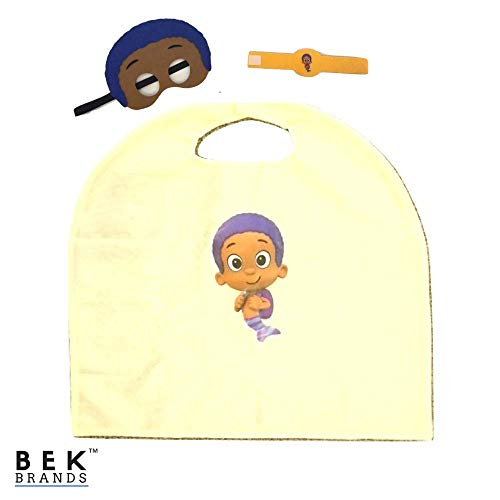 Bek Brands Bubble Guppies Kids Cape and Mask Set | Halloween Costume, Dress Up Play, Superhero Cape, Mask (Goby) -