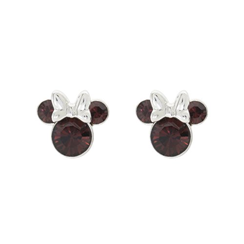 Disney Women's Jewelry Minnie Mouse Silver Plated Brass January Birthstone Stud Earrings Mickey's 90th Birthday Anniversary ()