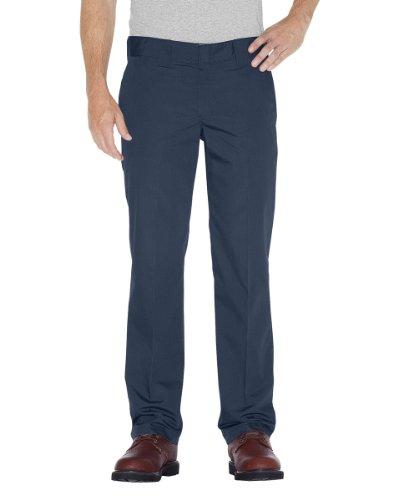 Dickies Mens Slim Straight Fit Poplin Work Pant, Dark Navy, 38W x 34L by Dickies