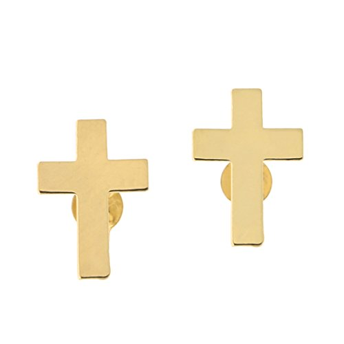 14k Yellow Gold Small Cross Stud Earrings by Beauniq