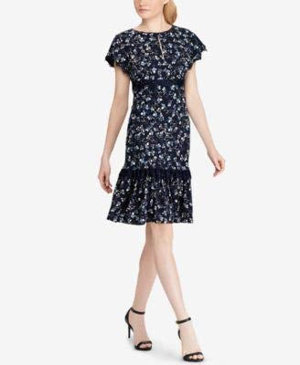 Ralph Lauren Womens Lace Trimmed Floral Crepe Dress, Size-10