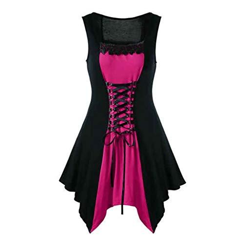 (Womens Gothic Steampunk Dress Victorian Retro Lace up Short Mini Formal Dresses Plus Size)