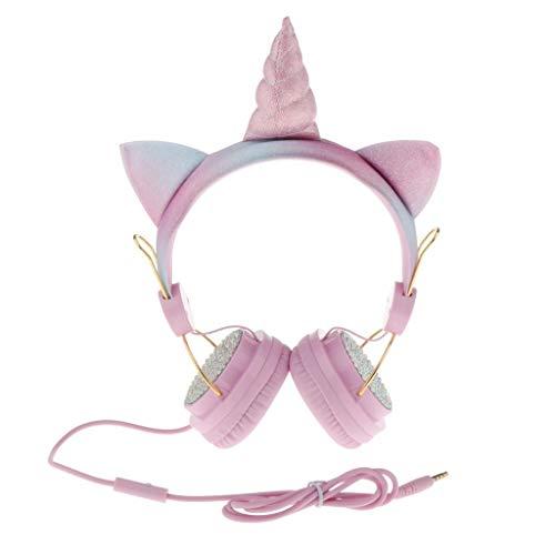 #N/A Unicorn Kids Cat Ear-koptelefoon voor Meisjescadeaus, Glitter Kinder Roze Koptelefoon – Roze 2, 1,2 m
