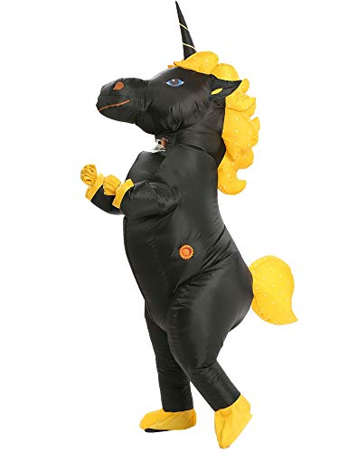Inflatable Unicorn Costume Pony Horn Horse Suit for Halloween (Black Large) -