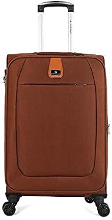 Giordano Softside Spinner Trolley Bag for Unisex, Brown, 24 Inch