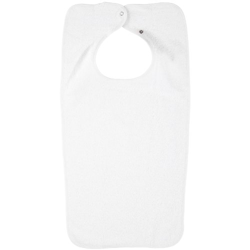 Adult White Terry Clothing Protector Bib with Snap Closure-3 Pack