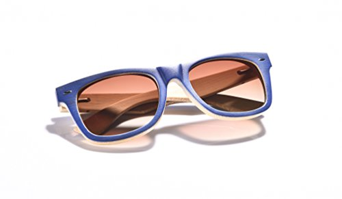 WOODWORD Bamboo Wood Sunglasses in Wayfarer Style with Polarized UV Protection Lenses for Men and Women-Hello From The Nature (Navy Blue, - Sunglasses Protection Lose Can Uv