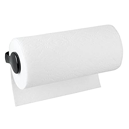Pantry for Kitchen Utility Room Mounts to Walls or Under Cabinets mDesign Plastic Wall Mount Paper Towel Holder /& Dispenser Black MetroDecor Laundry and Garage Storage Holds Jumbo Rolls