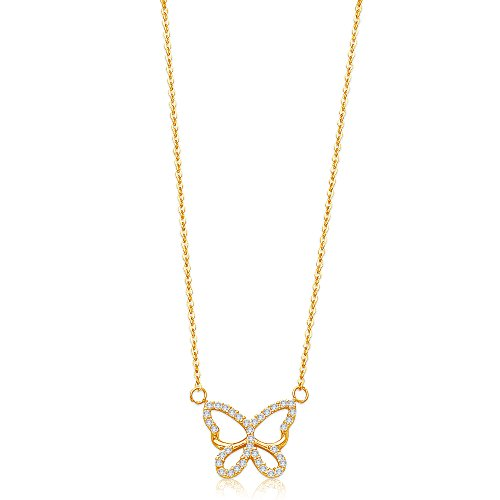 Jewel Tie Solid 14K Yellow Gold Pave Cubic Zirconia CZ Open Butterfly Pendant Charm Necklace - 17