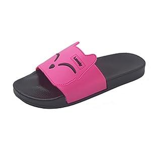 Feisco Girl Women Non-slip House Slipper Pool Beach Bathroom Shower Slipper Sandal (10 B(M) US Women, Rose Red)