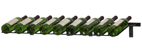 (VintageView Wall Series- Presentation Row 9 Bottle Wall Mounted Wine Rack (Satin Black) Stylish Modern Wine Storage with Label Forward Design)