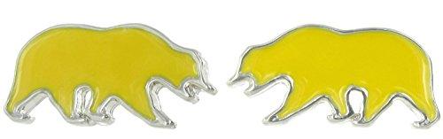 Officially Licensed UC Berkeley Miniature Golden Yellow Walking Bear Post Earrings -