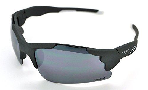 homme Frame pour de léger microfibre soleil Lunettes à Gray femme Athletic étui et Vertx Sport Lens Cyclisme pour Wrap gratuit Pied W Smoke Course durable CFtBdxWwq