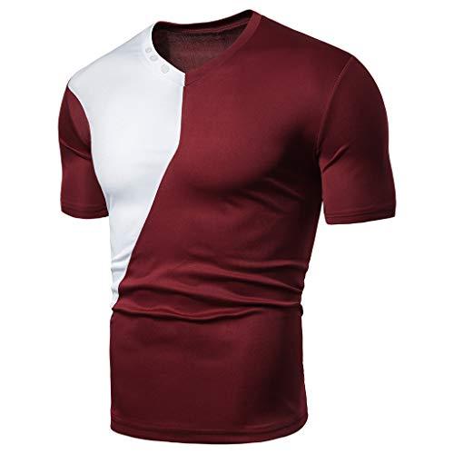 Rakkiss_Men T-Shirt Solid Splice Fashion Tops Slim Fit Patchwork Business Blouse Short Sleeved Summer -