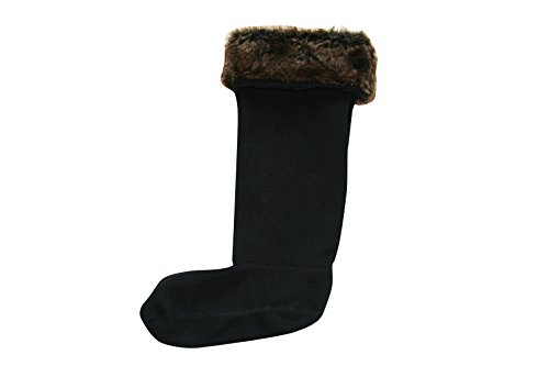 Fleece Welly Socks (Jileon Women and Men Warm, Cozy & Soft Winter Fleece Rainboots Liners (Small (5-7), Black Fur Top))