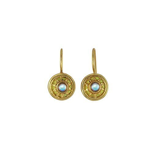 Michal Golan Small Crystal Sun Earrings. Plated in 24K Gold with Yellow Enamel. Tiny Delicate Drop Earrings.