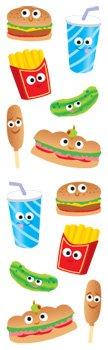 Mrs. Grossman's Regular Standard Strips Stickers: Cutie Fast Food