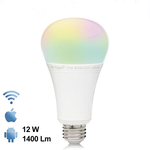 Mi-Light High power 1500lumens 2.4Ghz RF Remote And Touch Panel Control 12W Colour Changing Led Light Bulb Fully Dimmable Kelvin From Warm White 2700k To Cool White 6500k