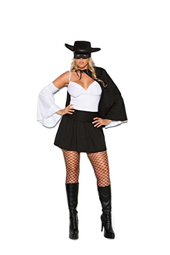 [Elegant Moments EM-99055X Daring Bandit - 4 pc. costume Black/White / 3X/4X] (Sexy Bandit With Hat Costumes)