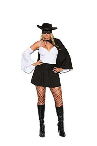 White Zorro Costume (Elegant Moments EM-99055X Daring Bandit - 4 pc. costume Black/White / 3X/4X)