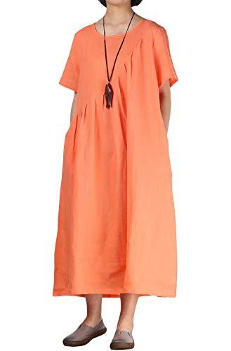 Mordenmiss Women's Linen Dresses Solid Pleated Short Sleeve Sundress (XXL, Style 2-Orange)