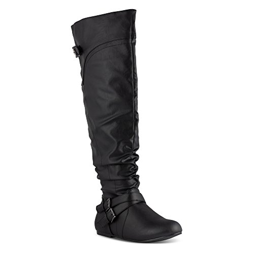 Twisted Women's Shelly Wide Calf Slouchy Over the Knee Faux Leather Fashion Boot- BLACK, Size 9 by Twisted