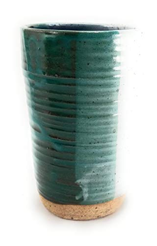 Aunt Chris' Pottery - Hand Made Clay - Earth Tones Drinking Tumbler (Cup) - Blue, Green & Grey Glazed With Gloss Finish - Natural Stone Base - Keep Your Hands Warm In The Winter! from dist by American mud products