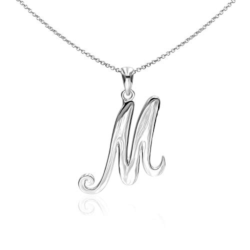 18 Chain Charm Sterling - Sea of Ice Sterling Silver Initial Alphabet Letters M Pendant Necklace, 18 inch