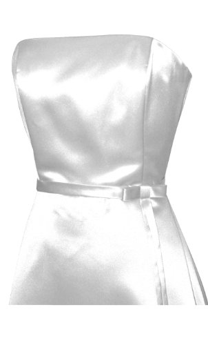 50's Strapless Satin Long Gown Bridesmaid Prom Dress Holiday Formal Junior Plus Size, 2X, White