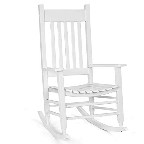 White Solid Wood Rocking Chair Porch Deck Patio Backyard Indoor Outdoor