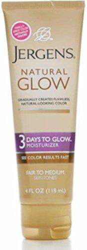 Jergens Natural Glow 3 Days to Glow Moisturizer, Fair to Medium 4 oz Pack of 5