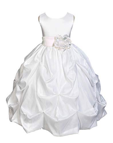 Communion Dresses Designer - ekidsbridal White Satin Taffeta Flower Girl