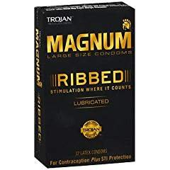 Trojan Magnum Ribbed Lubricated Condoms, 12 Count (Pack of 3)