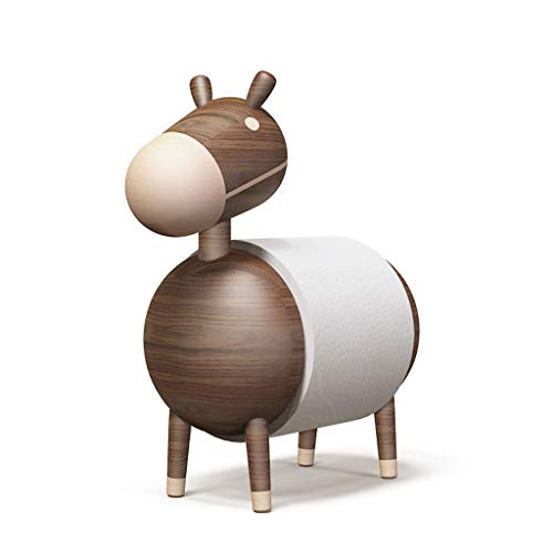 ZH Kitchen Roll Holder Wooden/Paper Towel Rack, Bathroom Toilet Roll Paper Stand, Exquisite Handicraft,Ornaments, Cartoon Little Donkey, Solid Wood