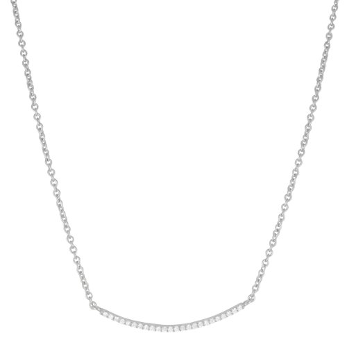 Kooljewelry Sterling Silver Cubic Zirconia Bar Necklace 18 inch