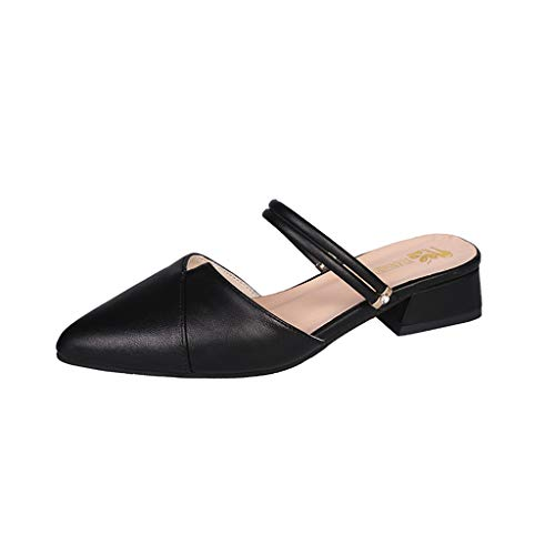 Aunimeifly Women's Pointed Cover Toe Solid Color Wild Sandals Ladies Sweet Square Low Heel Slippers Casual Slides Black