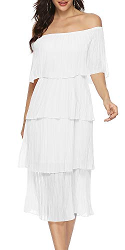 ETCYY Women's Off The Shoulder Maxi Dress Chiffon Ruffles Tiered Pleated Casual Midi Dress White
