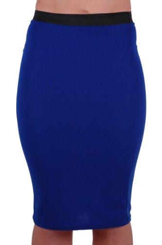tube longue jersey Femme Jupe EyeCatch crayon mi en Royal Bleu stretch Ezra pHwwq75xOn