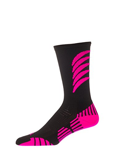CSI R2P2 Athletic Crew Socks USA made SmallBlack/Ruby Pink