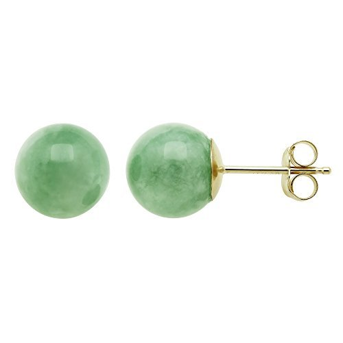 14K Yellow Gold Natural Green Jade Round Stud Earrings - Gold Green